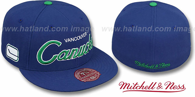 Canucks 'CLASSIC-SCRIPT' Navy Fitted Hat by Mitchell & Ness : pictured without stickers that these products are shipped with