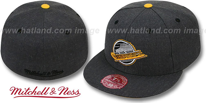 Canucks 'GREY HEDGEHOG' Fitted Hat by Mitchell & Ness : pictured without stickers that these products are shipped with