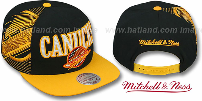 Canucks 'LASER-STITCH SNAPBACK' Black-Gold Hat by Mitchell & Ness : pictured without stickers that these products are shipped with
