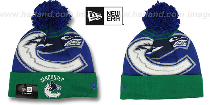 Canucks 'LOGO WHIZ' Royal-Green Knit Beanie Hat by New Era : pictured without stickers that these products are shipped with