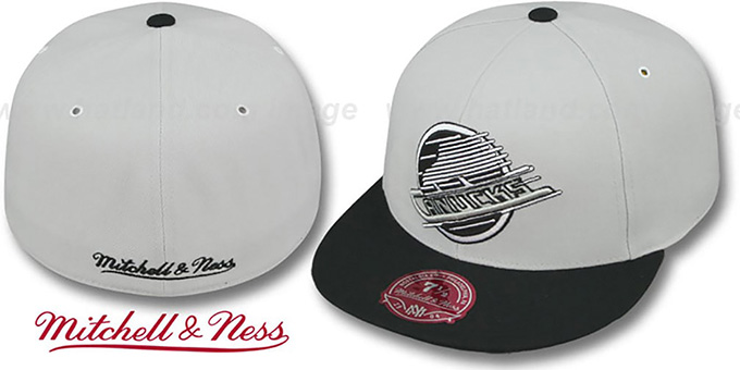 Canucks 'MONOCHROME XL-LOGO' Grey-Black Fitted Hat by Mitchell & Ness : pictured without stickers that these products are shipped with