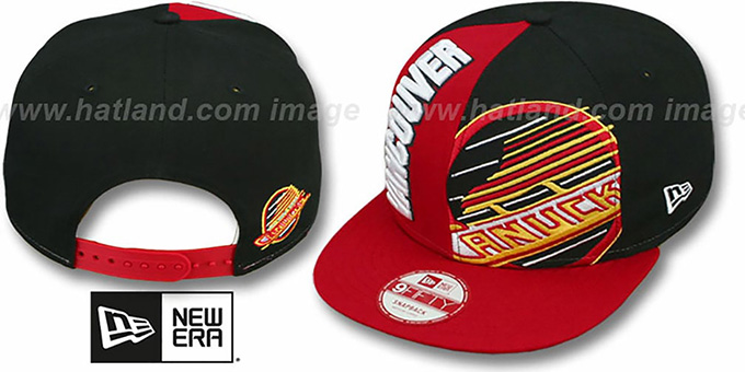Canucks 'NE-NC DOUBLE COVERAGE SNAPBACK' Hat by New Era : pictured without stickers that these products are shipped with