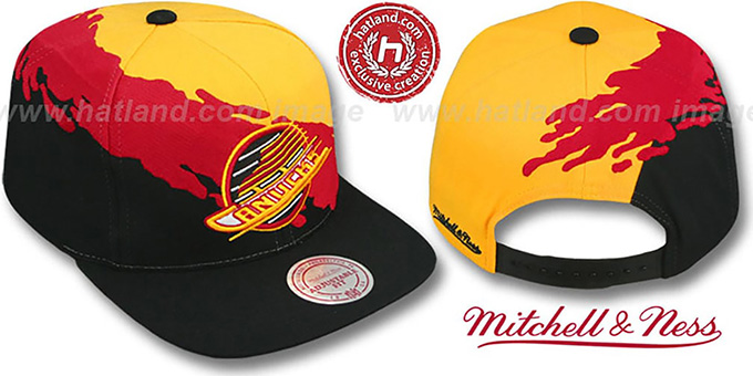 Canucks 'PAINTBRUSH SNAPBACK' Gold-Red-Black Hat by Mitchell & Ness : pictured without stickers that these products are shipped with