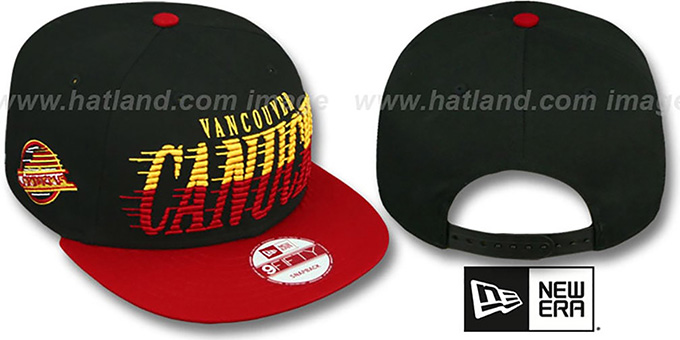Canucks 'SAILTIP SNAPBACK' Black-Red Hat by New Era : pictured without stickers that these products are shipped with
