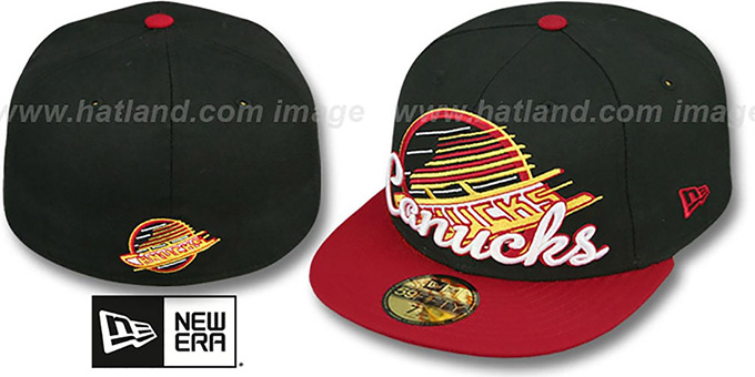 Canucks 'SCRIPT-PUNCH' Black-Red Fitted Hat by New Era : pictured without stickers that these products are shipped with