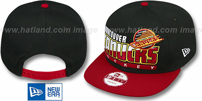 Canucks 'SLICE-N-DICE SNAPBACK' Black-Red Hat by New Era : pictured without stickers that these products are shipped with