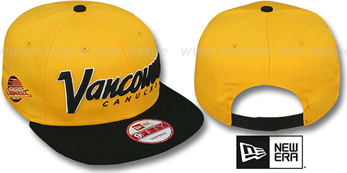 Canucks 'SNAP-IT-BACK SNAPBACK' Gold-Black Hat by New Era : pictured without stickers that these products are shipped with