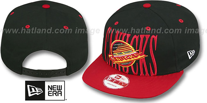 Canucks 'STEP-ABOVE SNAPBACK' Black-Red Hat by New Era : pictured without stickers that these products are shipped with