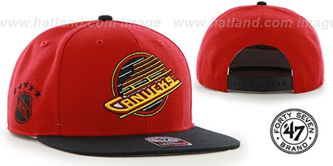 Canucks 'SURE-SHOT SNAPBACK' Red-Black Hat by Twins 47 Brand : pictured without stickers that these products are shipped with