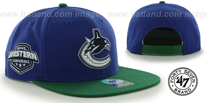 Canucks 'SURE-SHOT SNAPBACK' Royal-Green Hat by Twins 47 Brand : pictured without stickers that these products are shipped with
