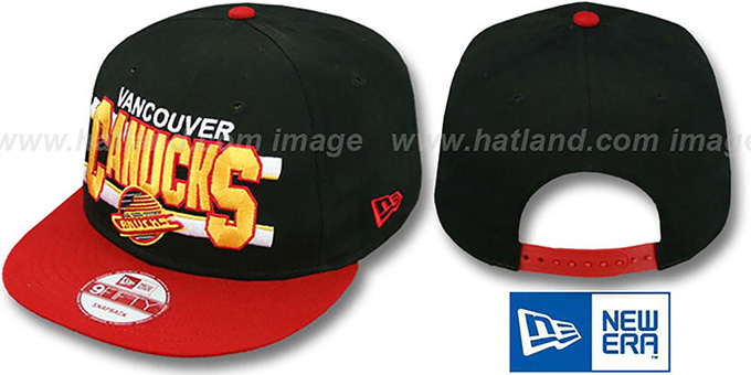 Canucks 'WORDSTRIPE SNAPBACK' Black-Red Hat by New Era : pictured without stickers that these products are shipped with
