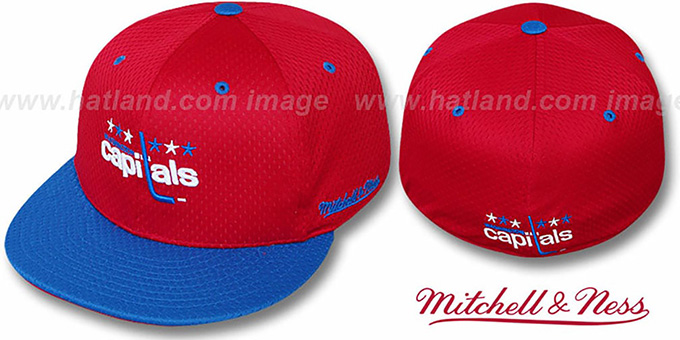 Capitals '2T BP-MESH' Red-Royal Fitted Hat by Mitchell & Ness : pictured without stickers that these products are shipped with