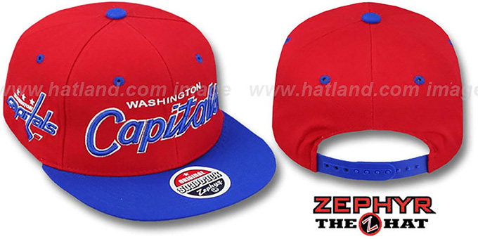 Capitals '2T HEADLINER SNAPBACK' Red-Royal Hat by Zephyr : pictured without stickers that these products are shipped with