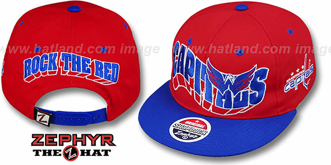 Capitals '2T ROCK-FLASHBACK SNAPBACK' Red-Royal Hat by Zephyr : pictured without stickers that these products are shipped with