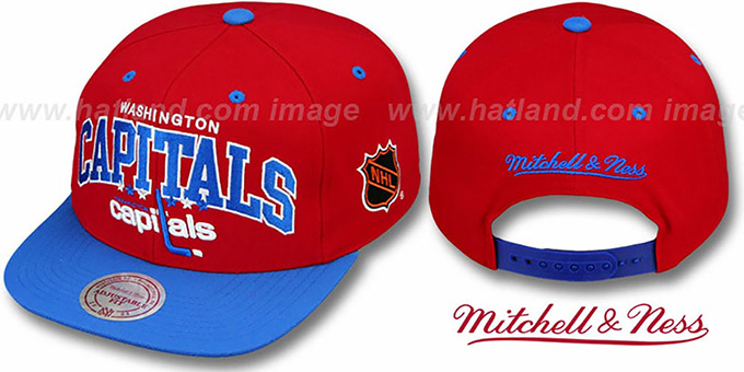 Capitals '2T TEAM ARCH SNAPBACK' Adjustable Hat by Mitchell & Ness : pictured without stickers that these products are shipped with