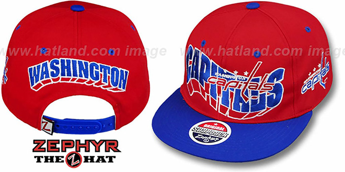 Capitals '2T TEAM-FLASHBACK SNAPBACK' Red-Royal Hat by Zephyr : pictured without stickers that these products are shipped with