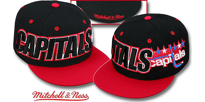 Capitals '2T WORDMARK' Black-Red Fitted Hat by Mitchell & Ness : pictured without stickers that these products are shipped with
