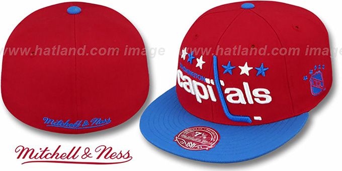 Capitals '2T XL-LOGO' Red-Royal Fitted Hat by Mitchell & Ness : pictured without stickers that these products are shipped with