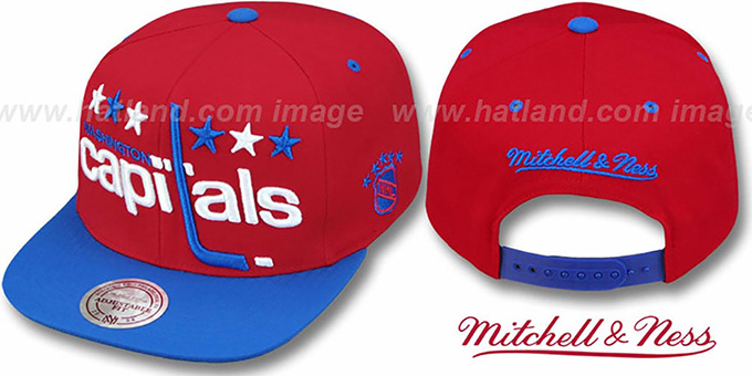 Capitals '2T XL-LOGO SNAPBACK' Red-Royal Adjustable Hat by Mitchell and Ness : pictured without stickers that these products are shipped with