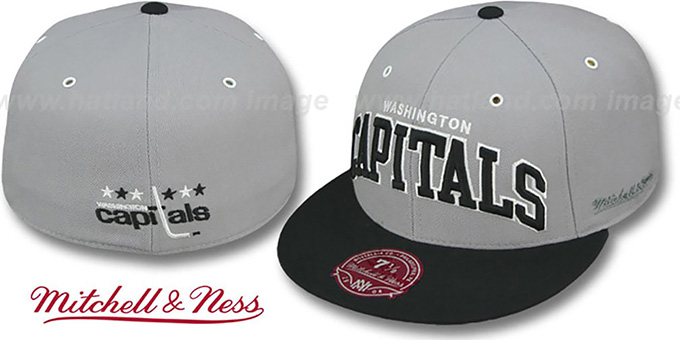 Capitals '2T XL-WORDMARK' Grey-Black Fitted Hat by Mitchell & Ness : pictured without stickers that these products are shipped with