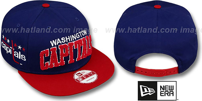 Capitals 'CHENILLE-ARCH SNAPBACK' Navy-Red Hat by New Era : pictured without stickers that these products are shipped with