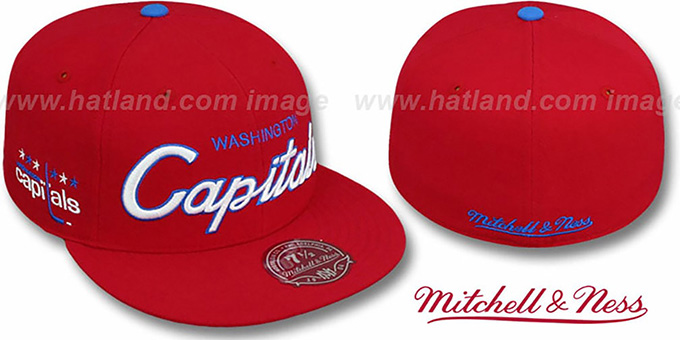 Capitals 'CLASSIC-SCRIPT' Red Fitted Hat by Mitchell & Ness : pictured without stickers that these products are shipped with