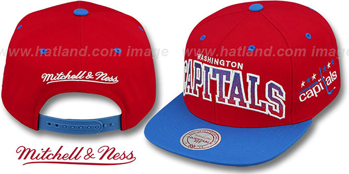 Capitals 'GRADIANT-ARCH SNAPBACK' Red-Royal Hat by Mitchell & Ness : pictured without stickers that these products are shipped with