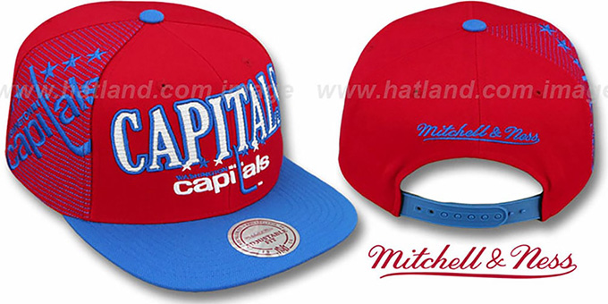Capitals 'LASER-STITCH SNAPBACK' Red-Blue Hat by Mitchell & Ness : pictured without stickers that these products are shipped with