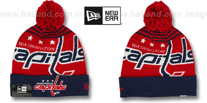 Capitals 'LOGO WHIZ' Red-Navy Knit Beanie Hat by New Era : pictured without stickers that these products are shipped with