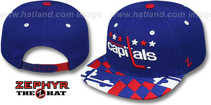 Capitals 'MARYLAND FLAG SNAPBACK' Royal Hat by Zephyr : pictured without stickers that these products are shipped with