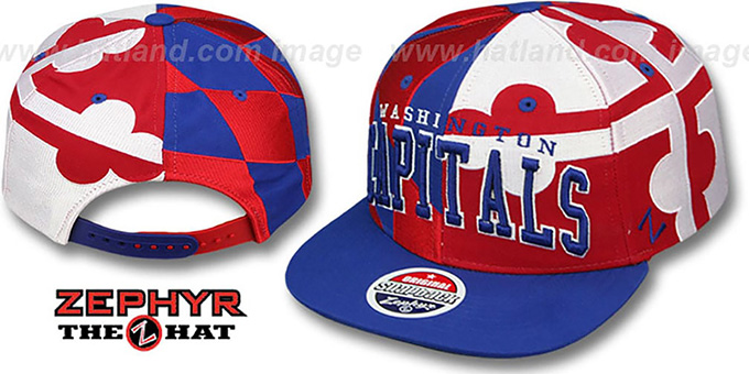 Capitals 'MARYLAND SUPER-FLAG SNAPBACK' Hat by Zephyr : pictured without stickers that these products are shipped with
