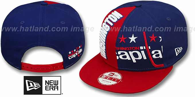 Capitals 'NE-NC DOUBLE COVERAGE SNAPBACK' Hat by New Era : pictured without stickers that these products are shipped with