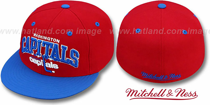 Capitals 'NHL 2T TEAM-ARCH' Red-Royal Fitted Hat by Mitchell & Ness : pictured without stickers that these products are shipped with