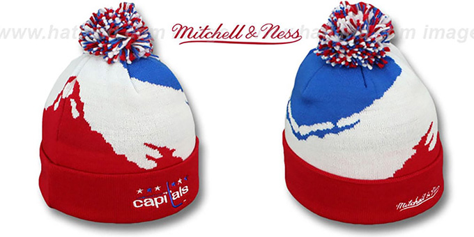 Capitals 'PAINTBRUSH BEANIE' by Mitchell and Ness : pictured without stickers that these products are shipped with