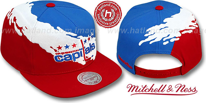 Capitals 'PAINTBRUSH SNAPBACK' Royal-White-Red Hat by Mitchell & Ness : pictured without stickers that these products are shipped with