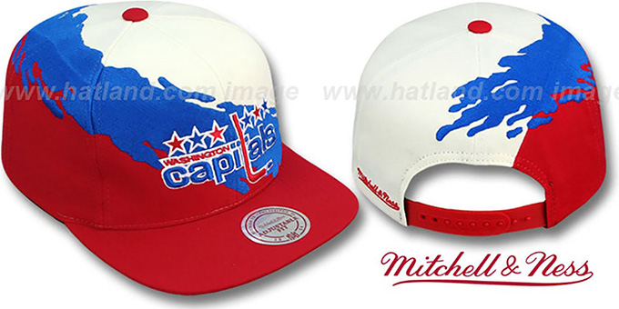 Capitals 'PAINTBRUSH SNAPBACK' White-Royal-Red Hat by Mitchell & Ness : pictured without stickers that these products are shipped with