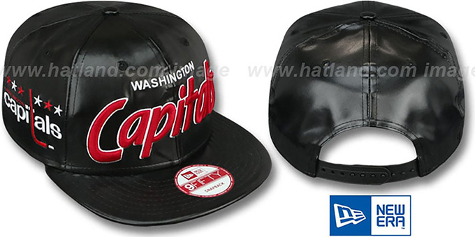 Capitals 'REDUX SNAPBACK' Black Hat by New Era : pictured without stickers that these products are shipped with
