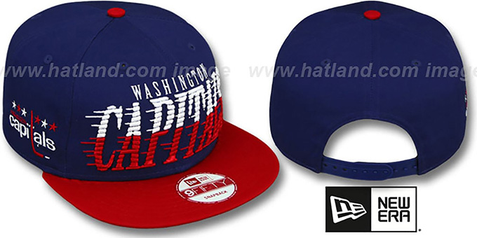 Capitals 'SAILTIP SNAPBACK' Navy-Red Hat by New Era : pictured without stickers that these products are shipped with