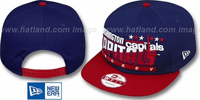 Capitals 'SLICE-N-DICE SNAPBACK' Navy-Red Hat by New Era : pictured without stickers that these products are shipped with