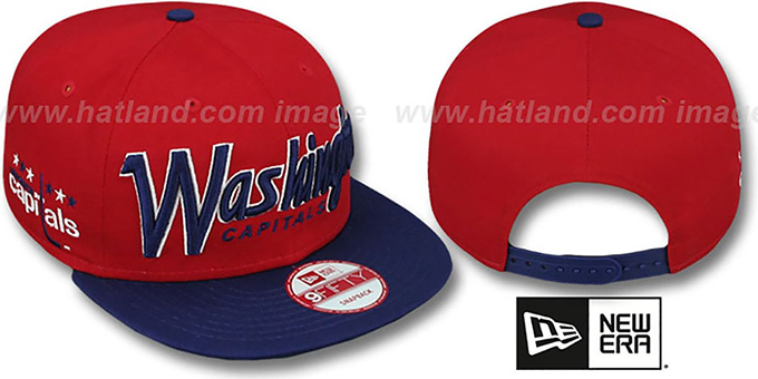 Capitals 'SNAP-IT-BACK SNAPBACK' Red-Navy Hat by New Era : pictured without stickers that these products are shipped with