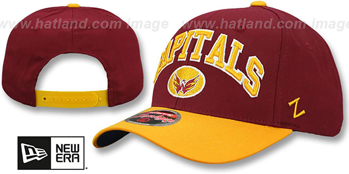 Capitals 'SPORT SNAPBACK' Burgundy-Gold Hat by Zephyr : pictured without stickers that these products are shipped with