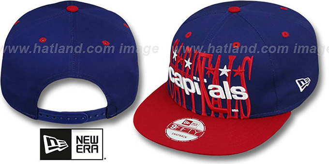 Capitals 'STEP-ABOVE SNAPBACK' Navy-Red Hat by New Era : pictured without stickers that these products are shipped with