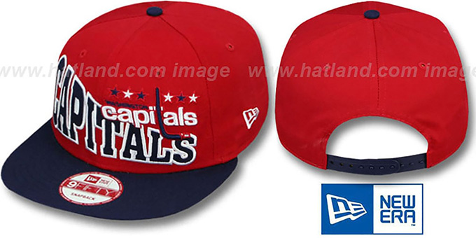 Capitals 'STOKED SNAPBACK' Red-Navy Hat by New Era : pictured without stickers that these products are shipped with