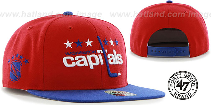 Capitals 'SURE-SHOT SNAPBACK' Red-Royal Hat by Twins 47 Brand : pictured without stickers that these products are shipped with