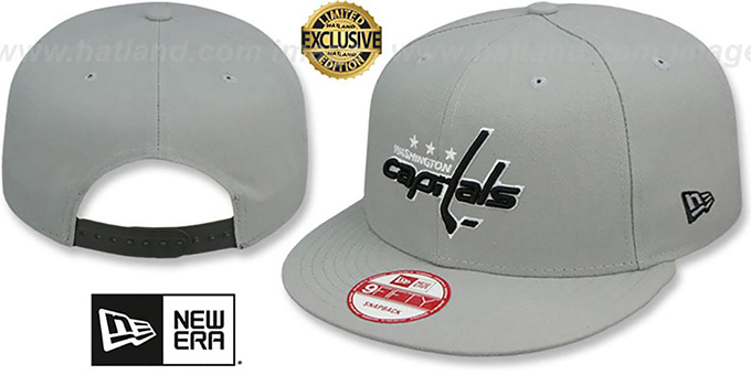 Capitals 'TEAM-BASIC SNAPBACK' Grey-Black Hat by New Era : pictured without stickers that these products are shipped with