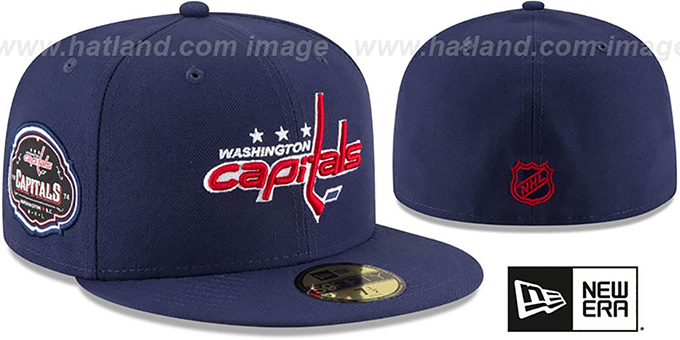 Capitals 'TEAM-SUPERB' Navy Fitted Hat by New Era : pictured without stickers that these products are shipped with