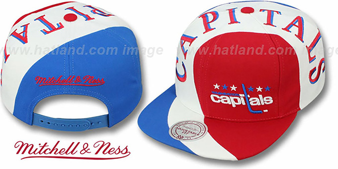 Capitals 'TWIRL SNAPBACK' Hat by Mitchell & Ness : pictured without stickers that these products are shipped with
