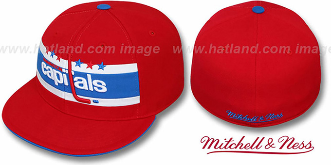 Washington Capitals VINTAGE SLAPSHOT Fitted Hat by Mitchell   Nes 8b7e7b4822a