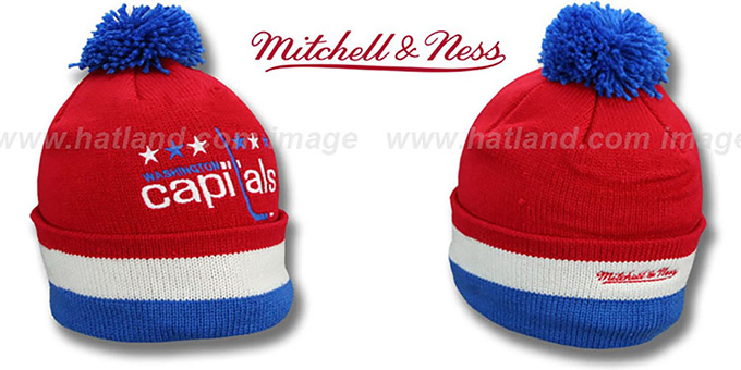 Capitals 'XL-LOGO BEANIE' Red by Mitchell and Ness : pictured without stickers that these products are shipped with