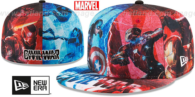 Captain America 'CIVIL WAR ALL-OVER' Fitted Hat by New Era : pictured without stickers that these products are shipped with